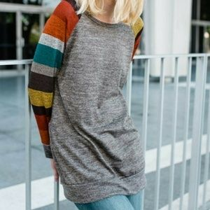Sweaters - NWOT boutique solid knit LS shirt+ striped sleeves